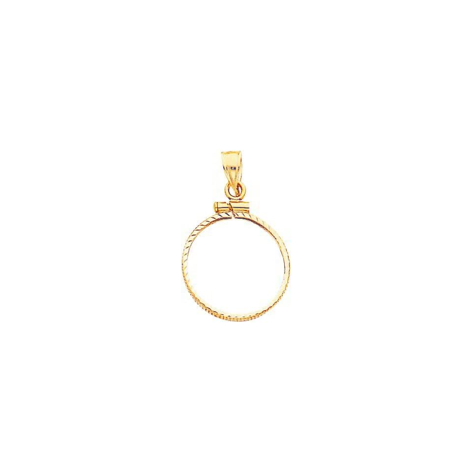 14K Gold Screw Top Bezel for Chinese Panda Coin 1/10oz