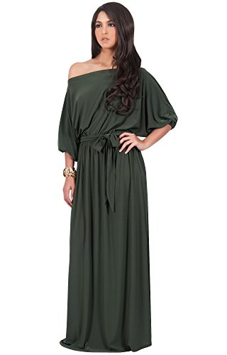 KOH KOH Plus Size Womens Long Sexy One Off Shoulder Flowy Casual 3/4 Short Sleeve Cocktail Wedding Party Guest Maternity Gown Gowns Maxi Dress Dresses, Olive Green 4XL 26-28 -