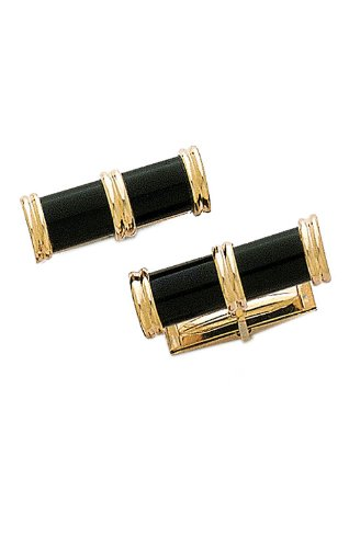 14K Yellow Gold Black Onyx Cylinder Cuff Links with Gold End Caps-89949