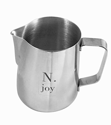 N.joy the essentials Stainless Steel Milk Frothing Pitcher, 12 Ounce (Small Milk Steam Pitcher)