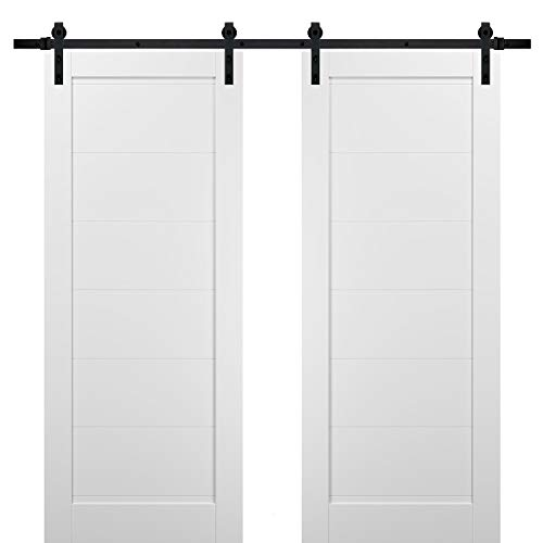 Sliding Double Barn Doors 72 x 84 with Hardware | Quadro 4115 White Silk | Top Mount 13FT Rail Sturdy Set | Kitchen…