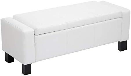 Superb Homcom 42 Faux Leather Storage Ottoman Bench Organizer Chest Rectangular Footstool With Hinged Lid Cream White Ibusinesslaw Wood Chair Design Ideas Ibusinesslaworg