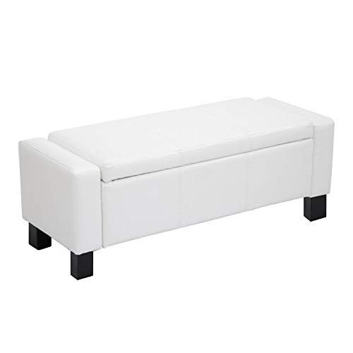 "Homcom 43"" Faux Leather Ottoman Storage Bench (White)"