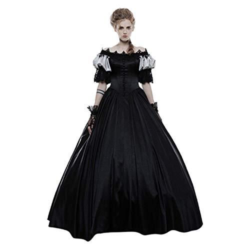 Diy Fringe Flapper Dress (Tsmile Women Renaissance Medieval Dress Retro Off Shoulder Puff Sleeve Gothic Ball Gown Lace Floor Length Dress)