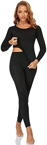 SHAPEVIVA Womens Thermal Underwear Set - Long Sleeves Warm Base Layer for Winter Black