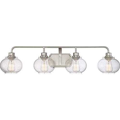 - Quoizel TRG8604BN Trilogy Glass Lantern Vanity Wall Lighting, 4-Light, 400 Watts, Brushed Nickel (8