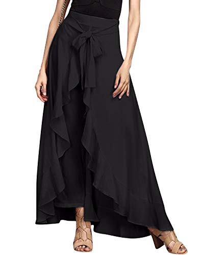 GIKING Women Ruffle Pants Full Length Split High Waist Retro Maxi Long Skirt Black M