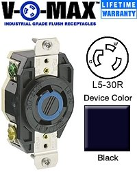 Leviton 30a Flush (Leviton 065-2610 30A 125V Ind Grade Flush Mount Locking Receptacle Device)