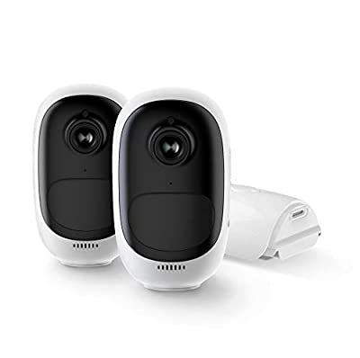 Reolink Argus Pro (2 Pack) Rechargeable Battery/Solar-Powered Outdoor Wireless Security Camera 1080p HD Wire-Free 2-Way Audio Night Vision Alarm Alert & PIR Motion Sensor w/Built-in SD Slot