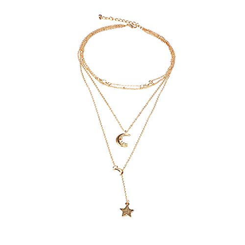 Fenleo Moon Star Personality Metal Sweater Chain Ms. Multilayer Necklace Jewelry