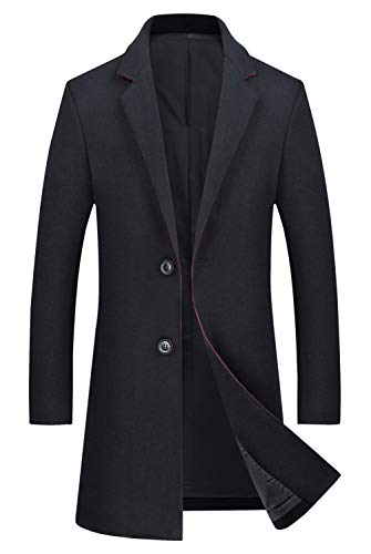 - ELETOP Men's Classic Trench Coat Single Breasted Wool Walker Coat Winter Jacket 1819 Black L