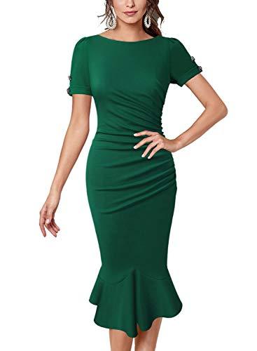 (VFSHOW Womens Green Elegant Vintage Ruched Cocktail Party Mermaid Midi Mid-Calf Pencil Dress 2825 GRN XXL)