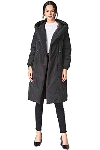 (MEHEPBURN Women's Long Open Front Down Jacket Parka Hooded with Tie Belt Black)