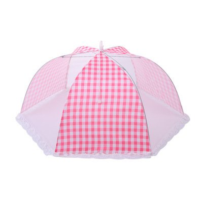 4 Pack of Food Protector Tent Keep Out Flies, Bugs, Mosquitoes Food Cover Simple And Round Breathable Cover Folded,Square 12 Inch Pink Plaid
