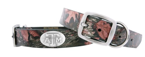 Zep-Pro Camouflage Leather Concho Pet Collar, Texas AandM Aggies, Medium