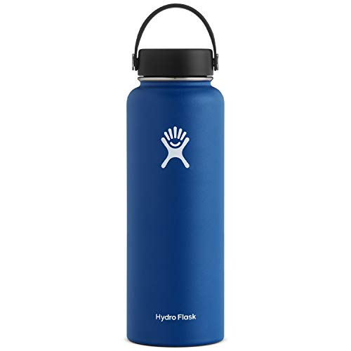 Hydro Flask Water Bottle – Stainless Steel & Vacuum Insulated – Wide Mouth with Leak Proof Flex Cap – 40 oz, Cobalt