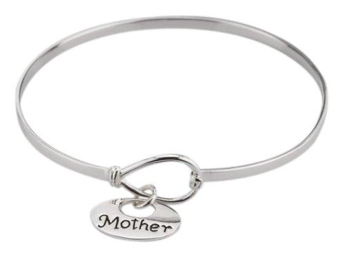 """Sterling Silver """"Mother"""" Charm Catch Bangle Bracelet"""