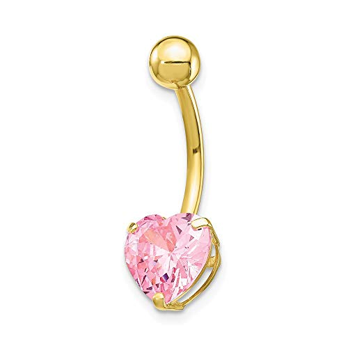 (Mia Diamonds 10k Yellow Gold with 8mm Pink Cubic-Zirconia (CZ) Heart Navel Belly Button Dangle Body Jewelry )