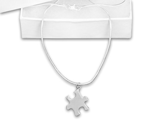 (Autism Puzzle Piece Shaped Charm Necklace in a Gift Box (Retail))