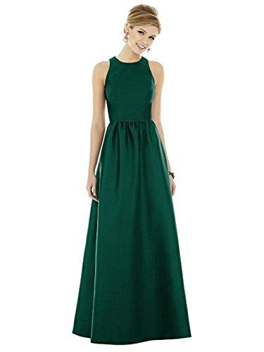 Abendkleid Brautjungfer Grün Hochzeit Faltenrock Festliche Damen Kleid Elegant Kleider Satin Langes UtxzWHqw