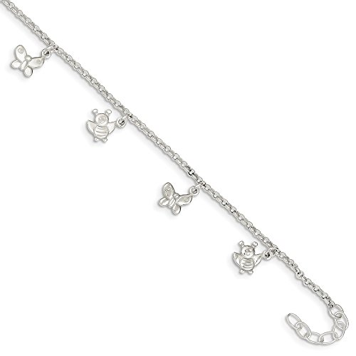 - 925 Sterling Silver Butterflies Bumble Bee Anklet Ankle Beach Chain Bracelet Butterfly Fine Jewelry Gifts For Women For Her