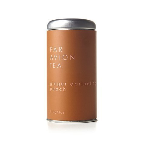 Par Avion Tea Ginger Darjeeling Peach - Freshly Hand-Ground Ginger and Sweet Dried Peaches - Small Batch Loose Leaf Tea in Artisan Tin - 4 - Blended Coffee Sweet