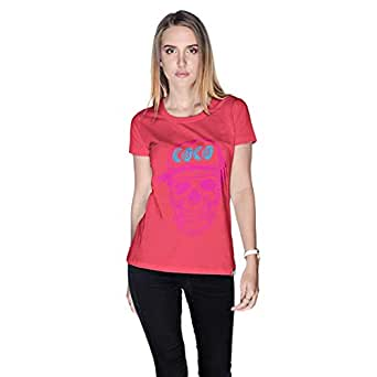 Creo Pink Blue Coco Skull T-Shirt For Women - L, Pink