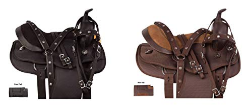 AceRugs All Purpose Synthetic Cordura Western Horse Saddle TACK Set Pleasure Trail Headstall REINS Breast Collar Saddle PAD (Black, 17)