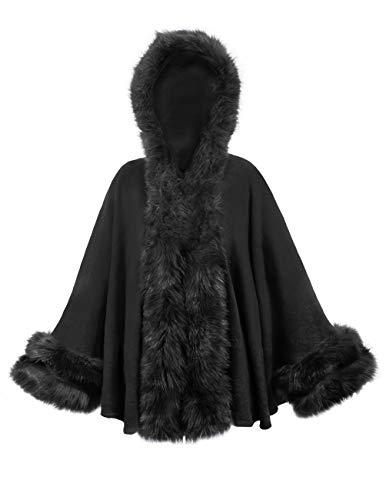 (Dahlia Women/'s Poncho - Faux Fur Trim Imprinted Rose Cape - Black, One Size)
