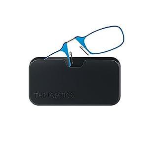 ThinOptics Reading Glasses + Black Universal Pod Case | Classic Collection, Blue Frames, 2.50 Strength