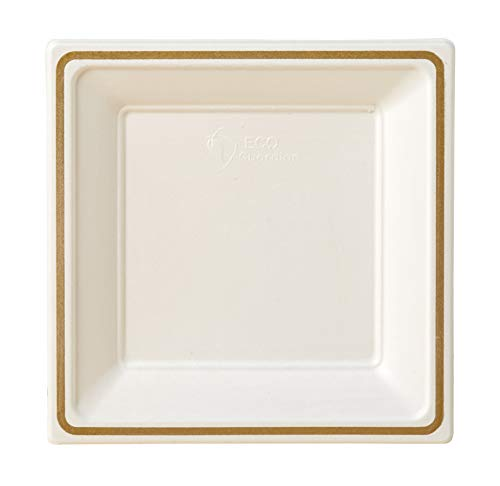 Compostable Printed Rim Plates, 9 Inch, Square Shaped, White with Gold, 64 Pack ()