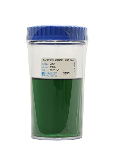 EE Broth Mossel, USP, for the Detection of Enteric Bacteria from Food Samples, 90 Milliliter Fill, 180 Milliliter Wide Mouth Jar, Order by the Package of 12, by Hardy Diagnostics