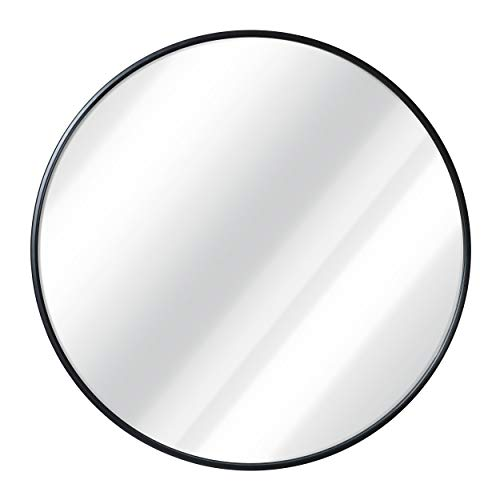 Black Round Wall Mirror - 24 Inch Large Round Mirror, Rustic Accent - Bathroom Decorative Mirrors Black