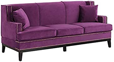 Amazon Com Divano Roma Furniture Exp48 Vv Pur Modern Soft Velvet