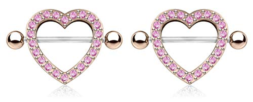 Forbidden Body Jewelry Surgical Steel CZ Crystal Heart Nipple Shield Barbells (Rose Gold Tone/Pink) ()