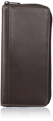 Buxton Leather Brown - Dopp Men's Regatta Leather Zipper Passport Organizer Wallet, Brown, One Size
