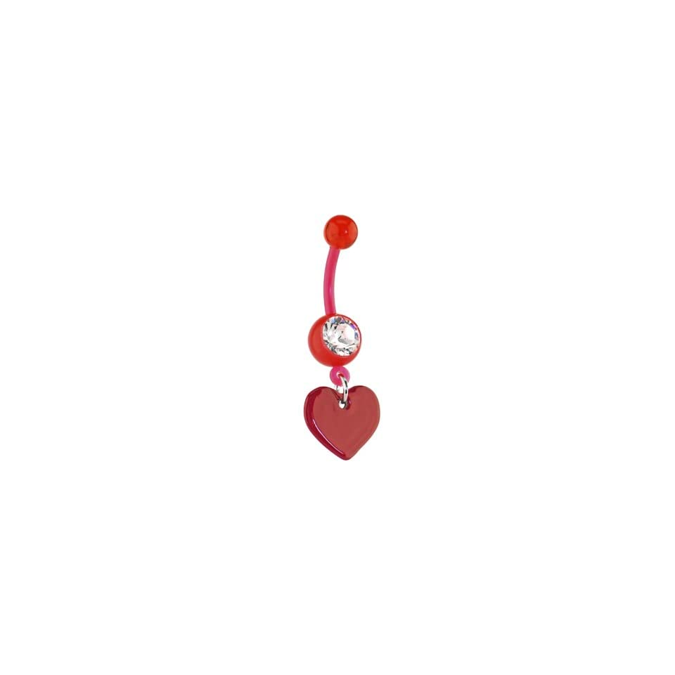 Bioplast Red Heart Dangle Belly Ring Jewelry