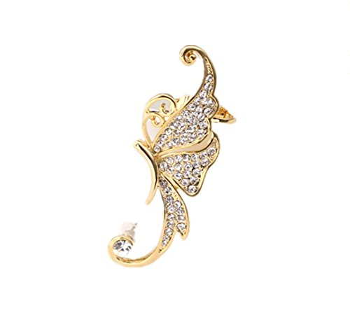 [Adorable Woman women 1PCS Gold White Crystal Butterfly Ear Cuffs Left Clip On Cartilage Ear Cuff] (Pop Art Inspired Costumes)