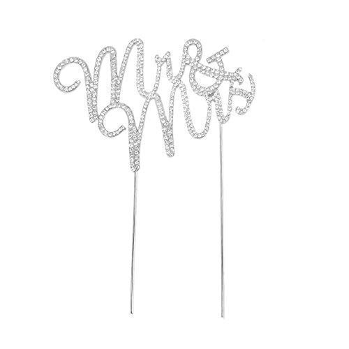 Glammazing LLC Custom Monogram Mr & Mrs Silver Rhinestone Cake Topper Wedding Cake Decoration Large Size (Casual Wedding Cake Topper)
