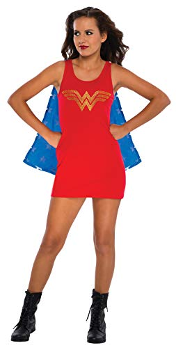 Rubie's DC Comics Justice League Superhero Style Teen Dress with Cape Rhinestone Wonder Woman, Red, Medium Costume]()