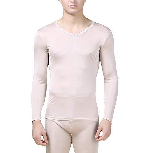 (LingDooo Mens Pure Silk Winter Knit Underwear Winter Thermal Long Johns Set V Neck Silk Shirt +Pants (M(Tag XL), V-Beige))