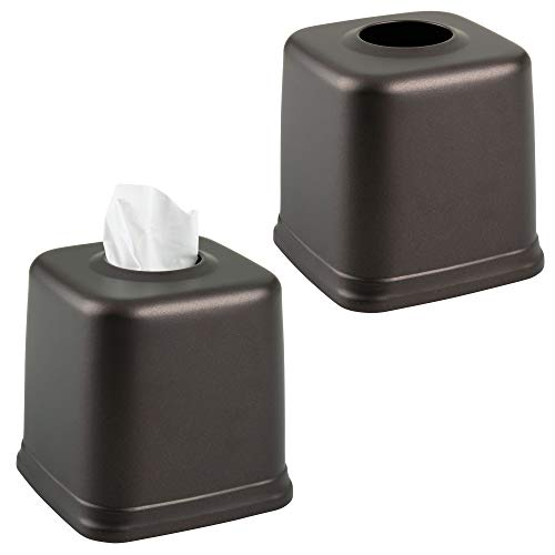 mDesign Square Metal Paper Facial Tissue Box Cover Holder for Bathroom Vanity Countertops, Bedroom Dressers, Night Stands, Home Office, Desks, Tables, 2 Pack - Bronze
