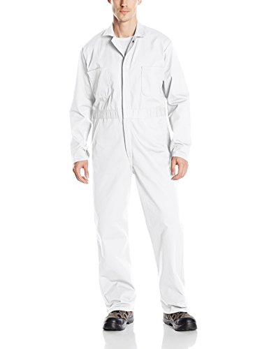 Red Kap Men's Snap Front Cotton Coverall, Oversized Fit, Long Sleeve, Bleached White, 42