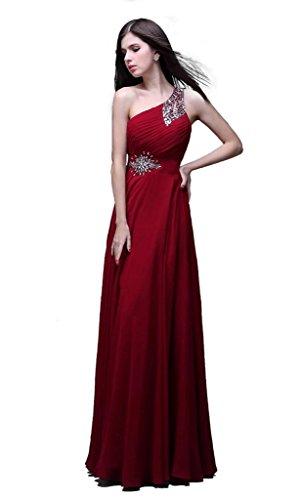 kmformals Women's One Shoulder Long Prom Dress Size 2 Burgundy