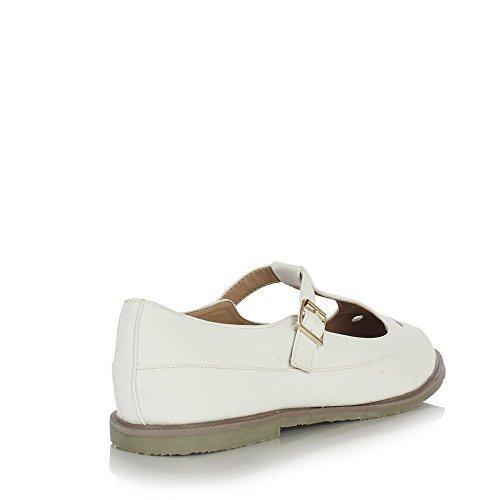 Sole Affair GENIUS Ladies Womens Girls Geek Retro Classic Flat T Bar Casual Cut Out Shoes Sandals Size UK 7, EU 40 White