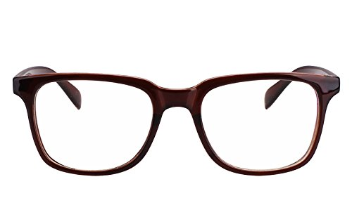 Agstum Wayfarer Plain Glasses Frame Eyeglasses Clear Lens  Tea Brown  52