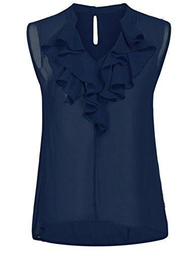 Blouse Ruffle (ThinIce Women's Sleeveless Tank Tops Sexy Chiffon Blouse Wear to Work Shirt Navy Blue XXL)