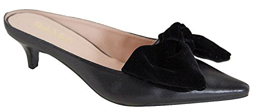 ointed Toe Bow Kitten Heel Mule Pump Slip On Slide Shoes Black 7 (Heel Leather Mule)