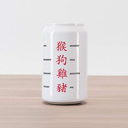 Lunarable Astrology Cola Can Shape Piggy Bank, Chinese Astrology for Horoscope Person Elements Future Illustration, Ceramic Cola Shaped Coin Box Money Bank for Cash Saving, Red White