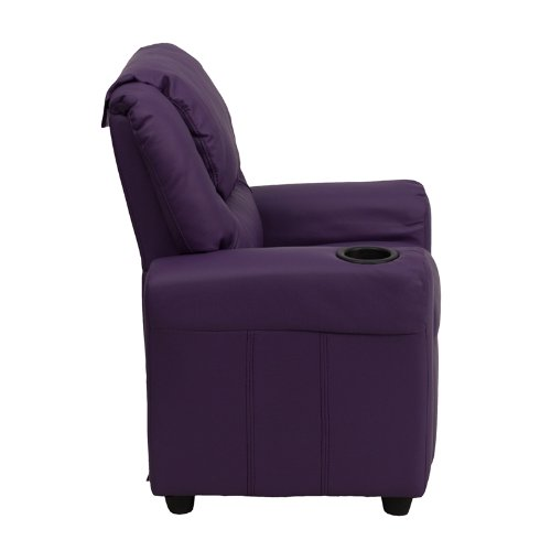 Flash Furniture Contemporary Purple Vinyl Kids Recliner with Cup Holder and Headrest